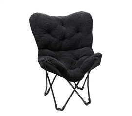 Compact Size - Overfilled Butterfly Chair - Ultra Padded Black - Great Dorm Seating