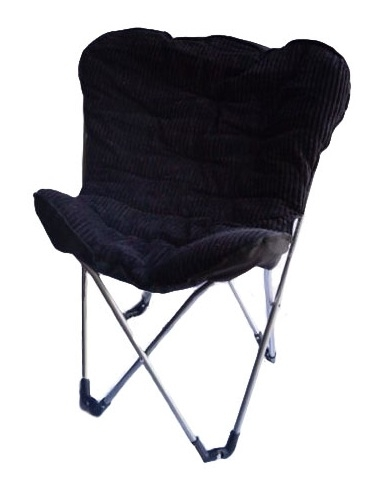 Comfort Padded Butterfly Chair Corduroy Black College