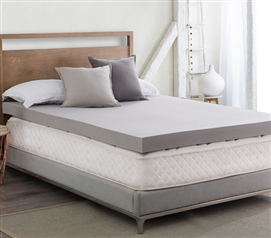 "Drools A Lot - Coma Inducer  - 4"" Memory Foam Twin XL Bedding Topper - Nighttime Gray"