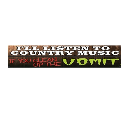 Country Music = Vomit - Humor Tin Sign & Fresh Perspective Decor Idea On Music