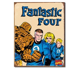Tin Sign Dorm Room Decor classic super hero comics fantastic four illustration on tin sign for wall decoration