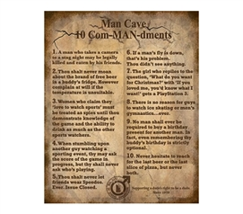 Cheap And Sturdy Decor - The 10 ComMANdments - Funny College Tin Sign - Great For Guys Dorm