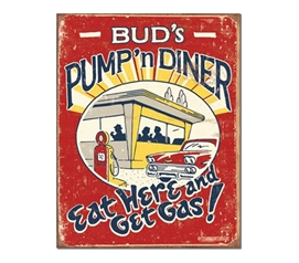 Tin Sign Dorm Room Decor guys funny Bud's diner tin sign illustration for dorm or college apartment wall art
