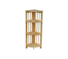 Folding 4 Tier Corner Shelf - Natural Wood Design - Space Saving College Accessory