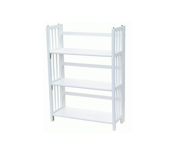 3 Tier Folding Stackable Bookcase White College Room