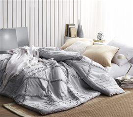 Handcrafted Series Twin XL Comforter Glacier Gray Centric Ruffles College Dorm Bedding