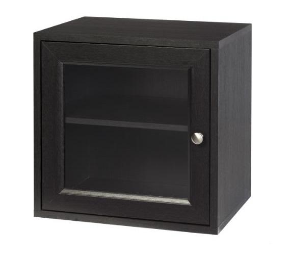 Storage Cube With Glass Door Espresso