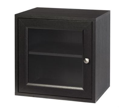 Storage Cube with Glass Door - Espresso Dorm Storage Solutions Dorm Essentials