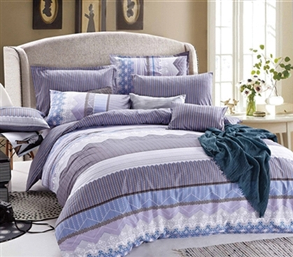 Striped Twin XL Comforter Set - Purple Designer Dorm Comforters