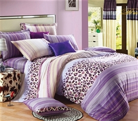 Lavender Leopard Twin XL Comforter Set - College Ave Designer Series