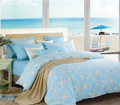 Summer Dream Twin XL Designer Comforter - College Ave Designer Series - Cheap Yet Designer Bedding Blue and Beige