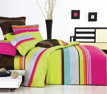 Salsa Stripe Twin XL Comforter Set - Lime Green Designer Comforter