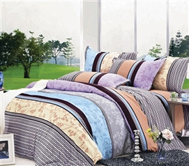 Comfortable And Colorful - Striped Extra Long Twin Comforter Set - College Ave Designer Series - Great Design