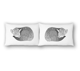 College Pillowcases - Sleeping Fox (2-Pack) Twin XL Bedding Must Have Dorm Items Dorm Room Decor