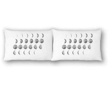 College Pillowcases - Moon Phases (2-Pack) Dorm Room Decorations Dorm Bedding
