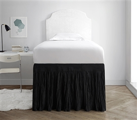 Black Extra Long Twin Bedding Dorm Sized Bed Skirt Panel with Ties Stylish Crinkle Design