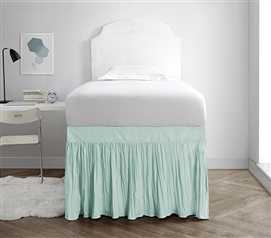 Crinkle Dorm Sized Bed Skirt Panel with Ties - Hint of Mint