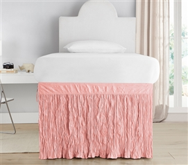Crinkle Dorm Sized Bed Skirt Panel with Ties - Rose Quartz