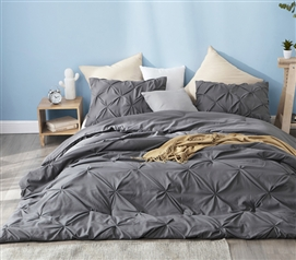 Granite Gray Pin Tuck Twin XL Comforter