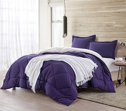 Purple Reign/Jet Stream Reversible Twin XL Comforter Dorm Bedding Twin XL Bedding