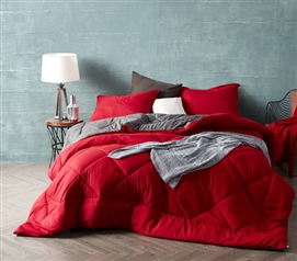 Extra Long Twin Bedding Reversible Cozy Twin XL Comforter Stylish Cherry Red/Granite Gray