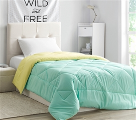 Comfortable Dorm Room Bedding Stylish Yucca Green/Limelight Yellow Twin XL College Comforter Reversible