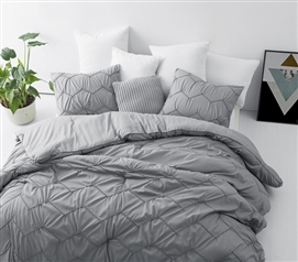 Textured Waves Twin XL Comforter - Supersoft Gray