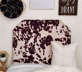 Unique Brown College Headboard Fashionable Animal Print Dorm Room Decor Cow Hide Design
