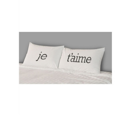 Fun College Bedding - College Pillowcases - Je T'aime (Set of 2) - Cool Dorm Item