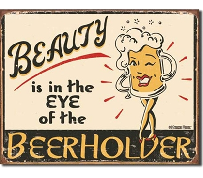 "Tin Sign Dorm Room Decor funny party tin sign with smiling beer mug and ""beauty"" joke for any dorm or college apartment"