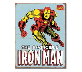 Tin Sign Dorm Room Decor classic marvel comics iron man cartoon drawing on tin sign for dorm decoration