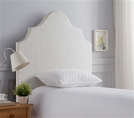 White DIY College Headboard Customizable Dorm Room Decor with Beveled Double Curve Design
