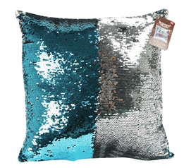 Teal Shimmer Sequin Dorm Throw Pillow