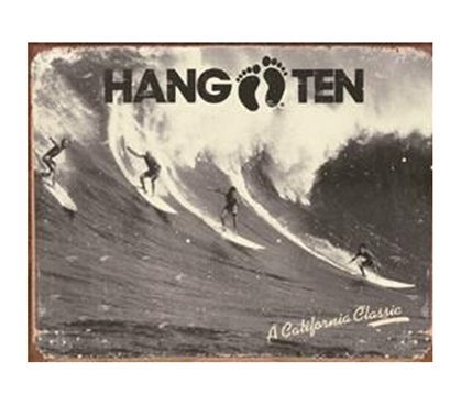 College Decor Items - Hang Ten Tin Sign - Decorate Your Dorm