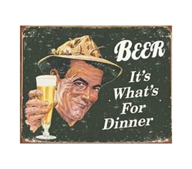 Fun Dorm Stuff - Beer For Dinner Tin Sign - Tin Signs For College