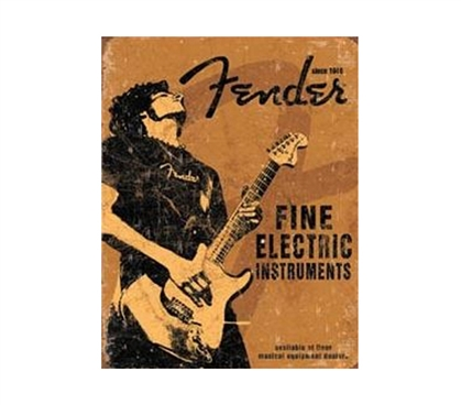 Add Fun Dorm Items - Fender Instruments Tin Sign - Decorate With Cool Dorm Tin Signs