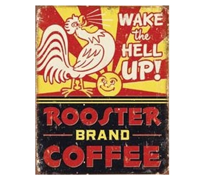 Decor For Dorms - Rooster Coffee Tin Sign - Dorm Room Supplies