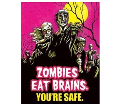 Buy Dorm Stuff - Zombies Eat Brains Tin Sign - Best Dorm Items