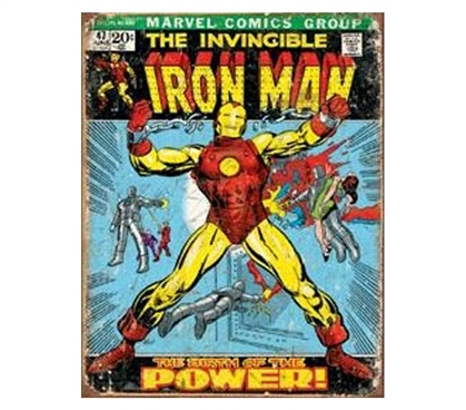 Retro College Decor - Iron Man Tin Sign - Best Supplies For College