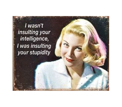 Decorate Your Dorm Room - Insulting Intelligence Tin Sign - Best Items For College