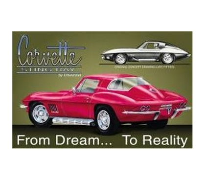 Decorate Your Dorm - Dream Corvette Tin Sign - Great Supplies For Dorms