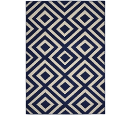 Bristol Dorm Rug - Indigo Blue and Ivory 5' x 7' Dorm Room Decorations Dorm Essentials