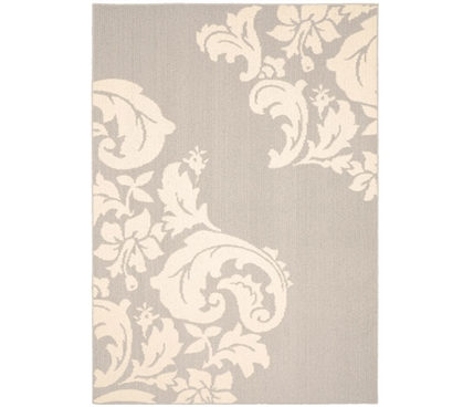 Cambridge Dorm Rug - Silver and Ivory Dorm Area Rug Dorm Room Decorations