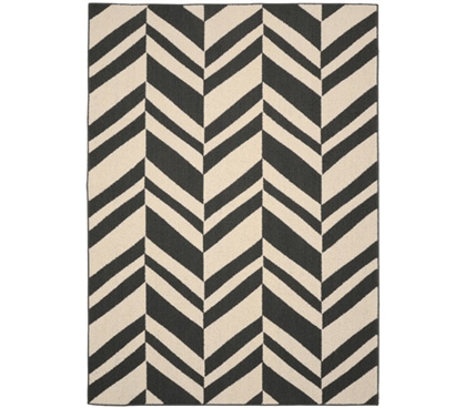 Arrow Dorm Rug - Gray and Ivory 5' x 7' Dorm Area Rug Dorm Room Decorations