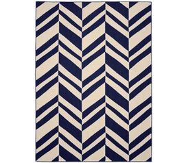 Arrow Dorm Rug - Indigo and Ivory 5' x 7' Dorm Essentials Dorm Room Decorations