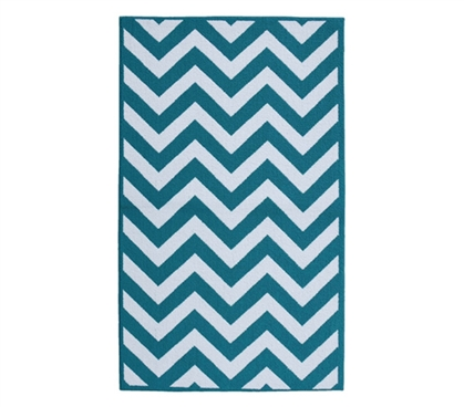 Fun Dorm Rugs - Chevron College Rug - Teal and White