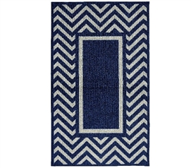 Chevron Frame College Rug - Navy and Silver Rugs for Dorms Dorm Room Decor