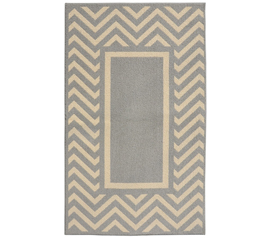 Dorm Decor in Neutral Colors - Chevron Frame College Rug - Silver and Ivory