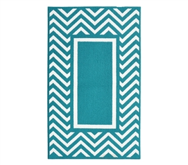 Cute Dorm Rugs - Chevron Frame College Rug - Teal and White