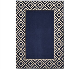 Diamond Frame - Indigo and Ivory 5' x 7' Dorm Rugs Dorm Essentials College Supplies